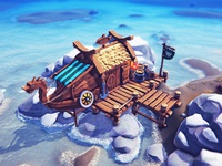 Cartoon Viking Fisherman's hut (Low poly)