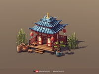 Cartoon 3d Asian Building (low poly & game-ready)