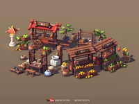 Cartoon 3d Asian Market (low poly & game-ready)