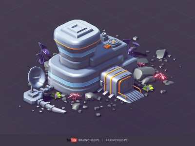 Modular Space Buildings - (low poly & game-ready) plant antenna station building cartoon 3d low poly lowpoly game unity5