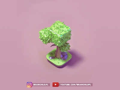 [Timelapse] Game art - Pre-rendered 3d Isometric Tree model 3d game design mobile indiedev indie pre-rendered isometric model game high poly lowpoly low poly