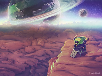 Low poly meets space 3d game design mobile indiedev indie pre-rendered planets model game robot lowpoly low poly