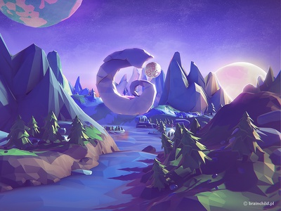Low poly meets space low poly lowpoly robot game model planets pre-rendered indie indiedev mobile game design 3d
