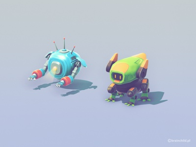 Space Robots space robot 3d game design mobile indiedev indie isometric model game lowpoly low poly