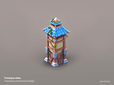 3d pre-rendered Watchtower building (Timelapse video) game art blender3d blender prerendered pre-rendered 3dart 3d asset watchtower building game