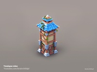3d pre-rendered Watchtower building (Timelapse video)