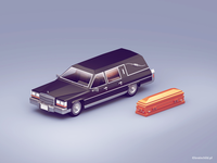 3d model - Funeral Car | Low Poly style | Retro