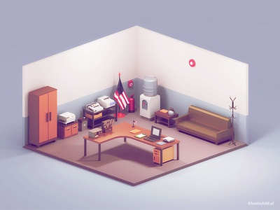 3d Room Assets   Low Poly Diorama   Retro desk room 3dartist low poly icon gif 3dart lowpolyart lowpoly low poly game design game icon 3d
