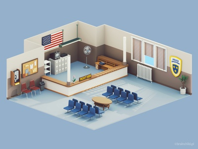 Low Poly  Police Department Room   3d   Retro police department police station 3d game icon design game low poly lowpoly lowpolyart 3dart gif low poly icon 3dartist room desk