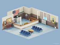 Low Poly  Police Department Room | 3d | Retro