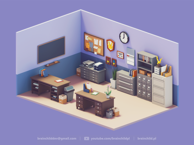 3d Room Assets | Low Poly Diorama | Retro office 3d game icon design game low poly lowpoly lowpolyart 3dart gif low poly icon 3dartist room desk