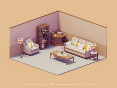 3d Room Assets   Low Poly Diorama   Retro couch livingroom desk room 3dartist low poly icon gif 3dart lowpolyart lowpoly low poly game design game icon 3d