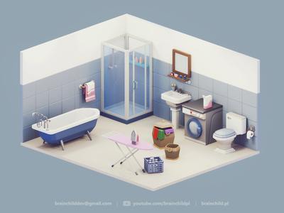 Low Poly Bathroom - 3d Room Assets   Low Poly Diorama blue bath bathroom 3d game icon design game low poly lowpoly lowpolyart 3dart gif low poly icon 3dartist room