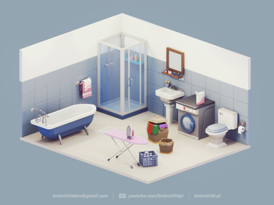 Low Poly Bathroom - 3d Room Assets | Low Poly Diorama blue bath bathroom 3d game icon design game low poly lowpoly lowpolyart 3dart gif low poly icon 3dartist room