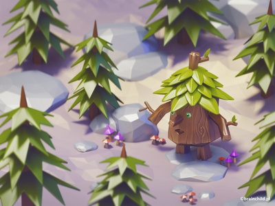 3d Tree Monster   Cute monster tree monster low poly art 3dartist 3dart 3d game cute model high poly low poly