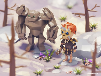Stone Age bros | 3d art | Low poly low poly high poly model cute game 3d 3dart 3dartist low poly art monster tree
