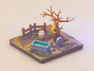 Tiny graveyard | Low Poly cartoon 3dartist low polygon lowpolyart lowpoly 3dart 3d tree graveyard grave low poly