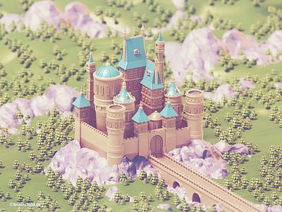 Low poly Castle | 3d art building castle low poly tree 3d 3dart lowpoly lowpolyart low polygon 3dartist cartoon