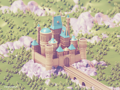 Low poly Castle | 3d art building castle low poly tree 3d 3dart lowpoly lowpolyart low polygon 3dartist cartoon