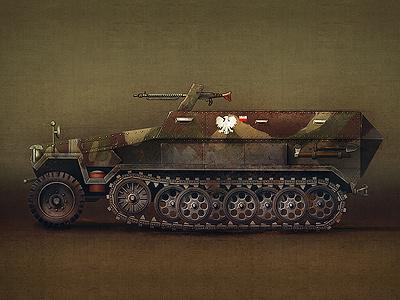 Sd Kfz rafał urbański rafal urbanski sd kfz tank vehicle army ww ii old car car poland polish gun brainchild brainchild.pl icon set icon game game icons icons