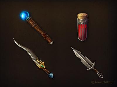 wand, hp potion, dagger & short sword