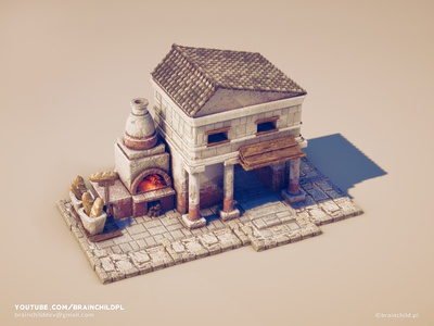 Ancient Bakery - 3d Low Poly Game Model ( PBR textures )