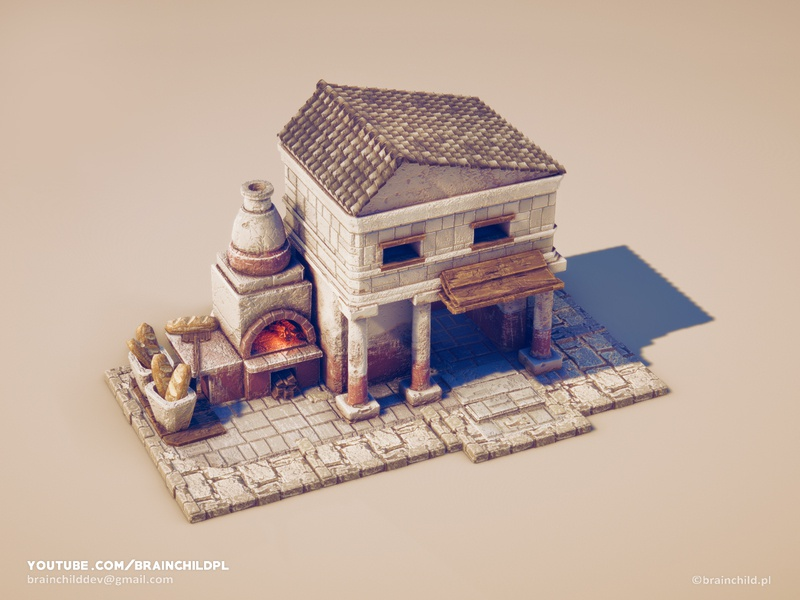 Ancient Bakery - 3d Low Poly Game Model ( PBR textures ) greece ancient texturing pbr texture model game art 3d blender substance designer substance painter lowpoly low poly