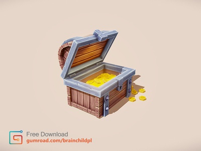 3d  Treasure Chest - low poly game asset (mobile game) lowpolyart simple mobile hand painted texture model 3d asset game low poly lowpoly