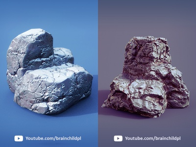 3d Rocks - PBR textures created in Substance Painter youtube low poly lowpoly 3d modeling 3d art model pbr snow stone rock rocks texture designer painter substance
