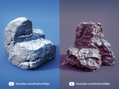 3d Rocks - PBR textures created in Substance Painter