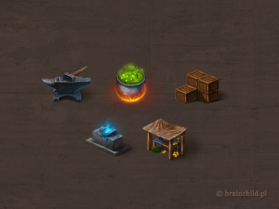 some small icons for a game rings ring item game item game gold coin brainchild brainchild.pl market box wooden anvil altar warlock trade rafał urbański rafal urbanski