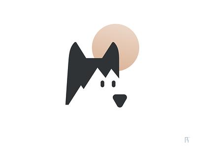 Husky peak winter snow sun mountain logo dog husky