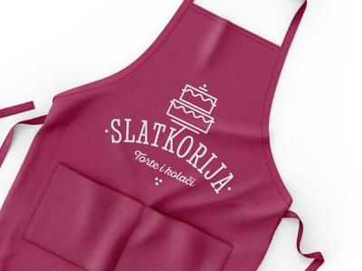 Slatkorija rokac apron branding logo design dessert baking logo cake