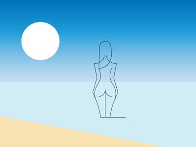 The Girl equanimity echo transparent beach sea sun white summer