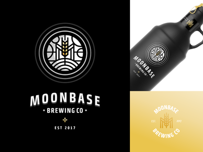 Moonbase Brewing Co. wheat logo label beer lunar base brewing moon