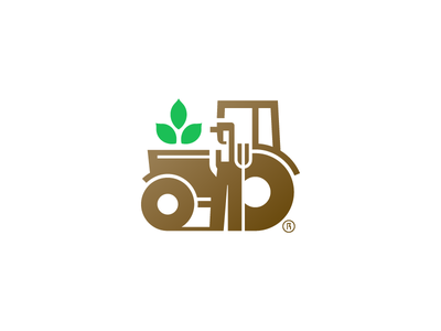 Tractor rokac kerovec roko food minimal logo nature soil leaf potato farmer tractor