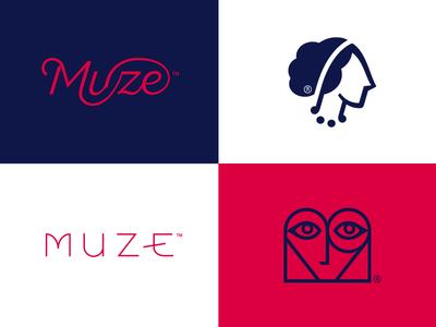 Muze logo logotype food quality inspiration love heart minimal woman head catering muse