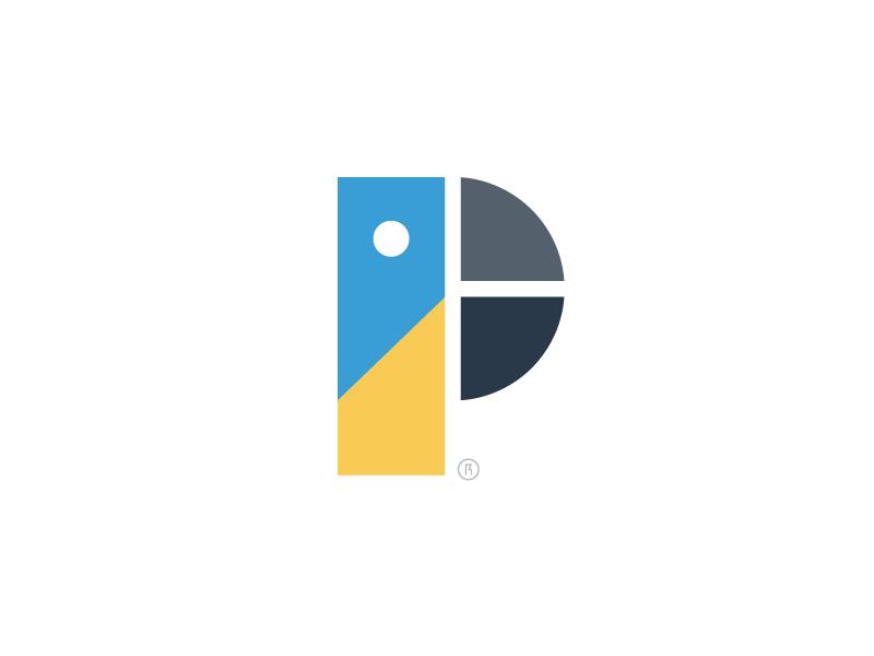 Parrot toy minimal symbol animal bird letter p logo parrot