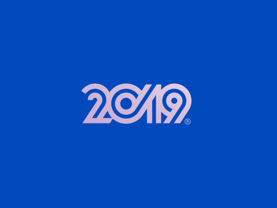2019 numbers logotype logo line newyear 2019