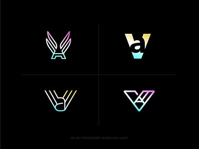 VA wings air minimal branding logo monogram av va