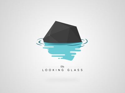 The Looking Glass Logo flat design low poly interactive geometry logo water