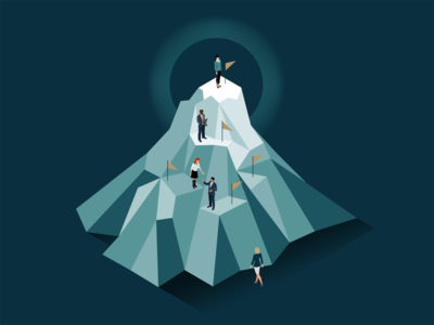 Reaching the Peak isometric illustration goals journey flag mountain business