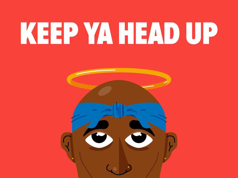 Keep Ya Head Up vector illustration positivity encouragement hip hop rap bandana halo