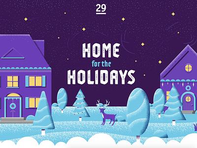 Home for the Holidays winter snow purple holidayseason wreath house christmas tree reindeer texture illustration stars night christmas holidays