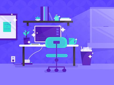 Clean Desk, Happy Life purple blue illustration workspace desk fresh clean