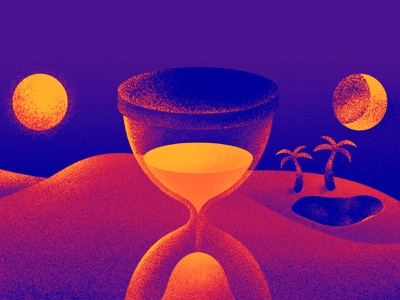You Don't Have Time for Everything texture gradient illustration palm tree beach sand moon sun hourglass time