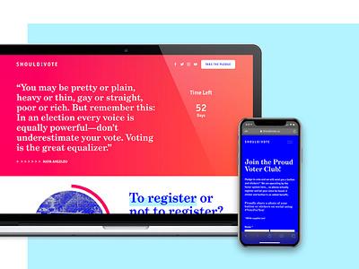 Voter Information mobile web design blue white red election 2020 voting vote