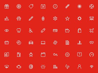 Automotive and Lifestyle Icons branding red lifestyle automotive monoline iconography