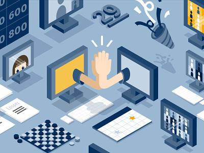 Remote Work Culture blue vector illustration