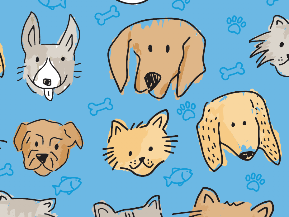 Gift Wrap Ideas = Dogs + Cats illustration line art cat dog christmas blue
